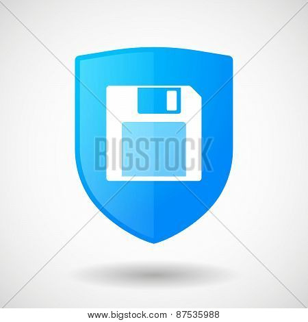 Shield Icon With A Floppy Disk