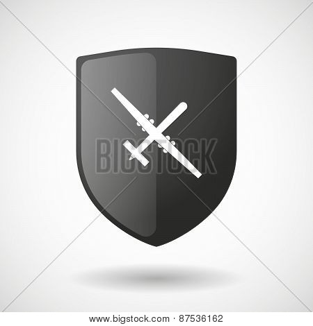 Shield Icon With A War Drone