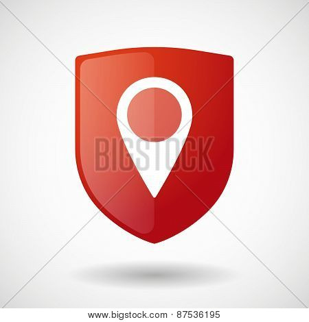 Shield Icon With A Map Mark