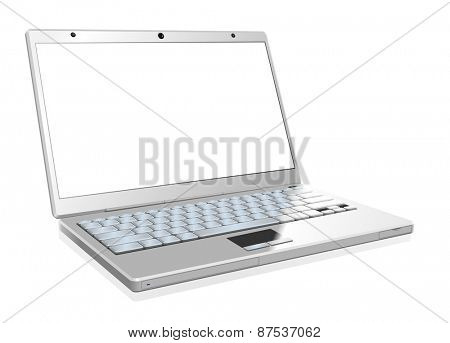 White laptop with the blank screen isolated on white background.