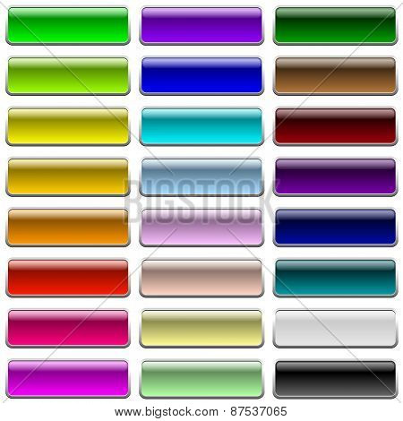 Blank color web buttons isolated on white background.
