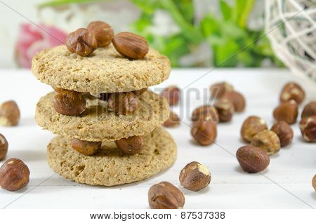 Oatmeal Cookie And Hazelnuts