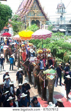 Si Satchanalai Elephant Back Ordination Procession.