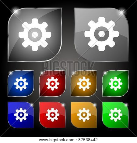 Cog Settings, Cogwheel Gear Mechanism Icon Sign. Set Of Ten Colorful Buttons With Glare. Vector