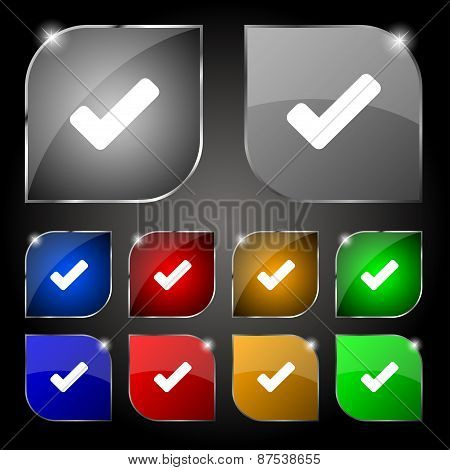Check Mark, Tick Icon Sign. Set Of Ten Colorful Buttons With Glare. Vector