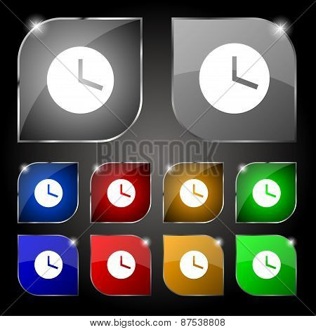 Mechanical Clock Icon Sign. Set Of Ten Colorful Buttons With Glare. Vector