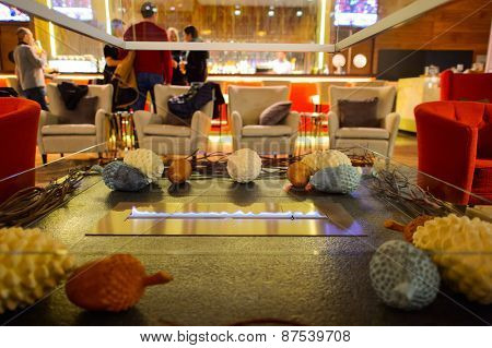 MOSCOW, RUSSIA - MARCH 29, 2015: Hilton hotel interior. Hilton Hotels & Resorts is an international chain of full service hotels and resorts and the flagship brand of Hilton Worldwide