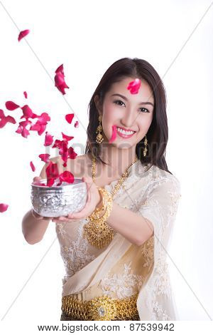 Traditional Costume Of Thailand And Songkran Festival Concept