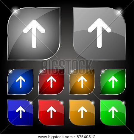 Arrow Up, This Side Up Icon Sign. Set Of Ten Colorful Buttons With Glare. Vector