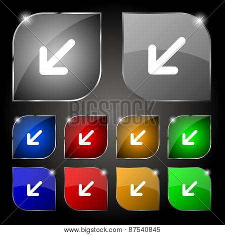 Turn To Full Screenicon Sign. Set Of Ten Colorful Buttons With Glare. Vector