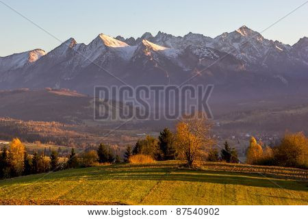 Autumn Tatra mountains sunset