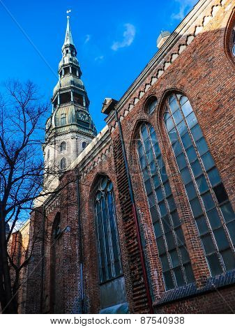 Latvia Riga City's Historical Center - Unesco World Heritage Site Saint Peter's Church