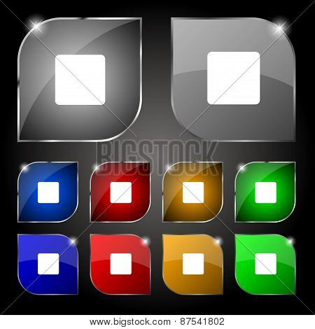 Stop Button Icon Sign. Set Of Ten Colorful Buttons With Glare. Vector