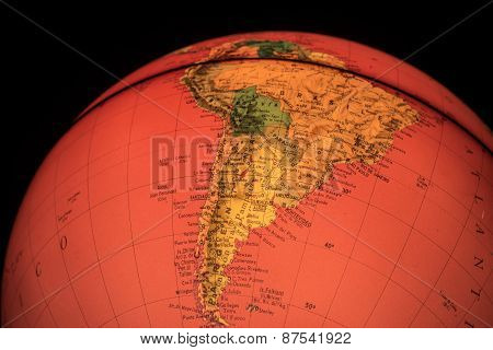 Terrestrial Globe On Black Background