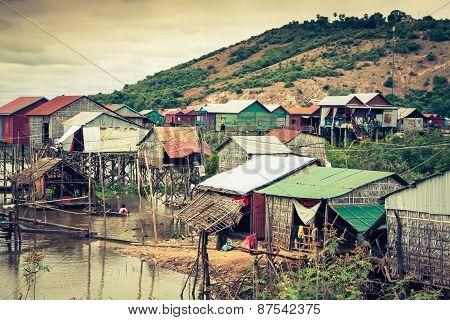 Homes On Stilts On The Floating Village Of Kampong Phluk, Tonle Sap Lake,siem Reap Province, Cambodi
