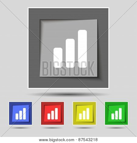 Growth And Development Concept. Graph Of Rate Icon Sign On The Original Five Colored Buttons. Vector