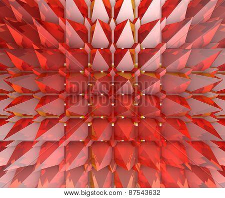 Red Glass Transparent Pyramids Background