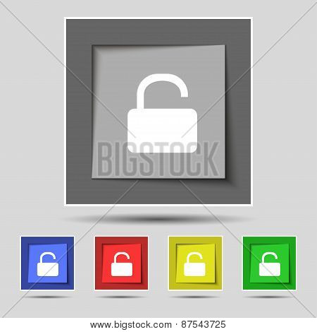 Open Padlock Icon Sign On The Original Five Colored Buttons. Vector