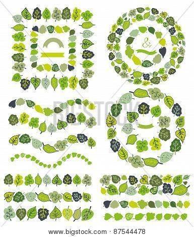Green leaves  border,brushes,wreath set.Stylized leaf
