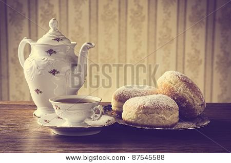 Donuts On Tray With Cup Of Coffee In Old-fashioned