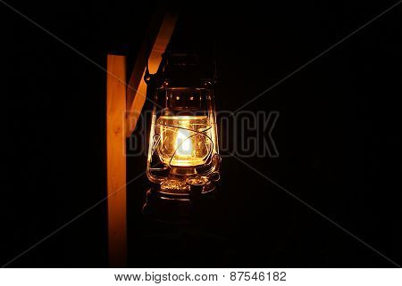 Oil lamp at night
