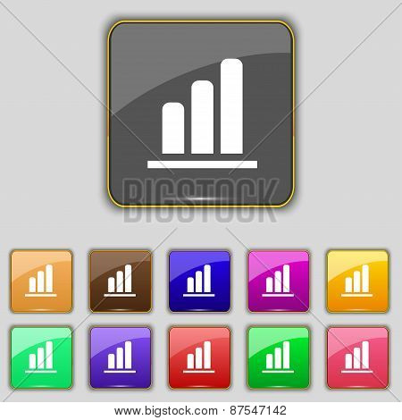 Growth And Development Concept. Graph Of Rate Icon Sign. Set With Eleven Colored Buttons For Your Si