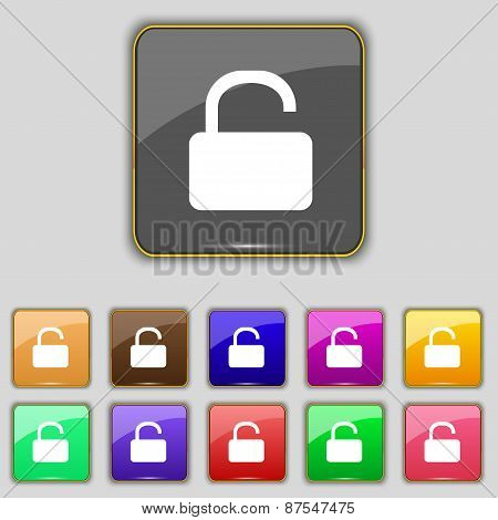Open Padlock Icon Sign. Set With Eleven Colored Buttons For Your Site. Vector