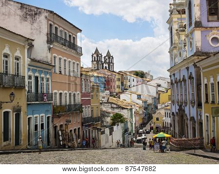 Colorful Historical Buildings In Pelourinho, Salvador, Bahia, Brazil