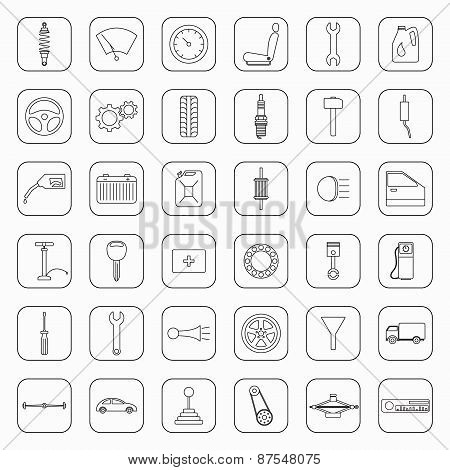 Thirty Six Car Parts Icons