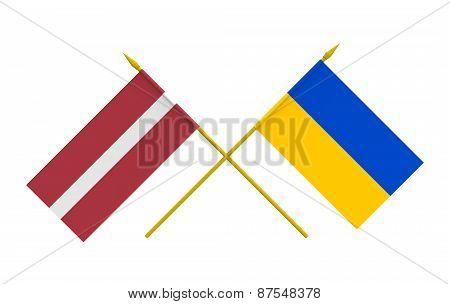 Flags, Latvia And Ukraine