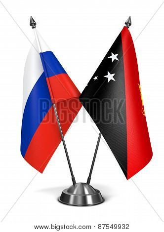 Russia and Papua New Guinea - Miniature Flags.