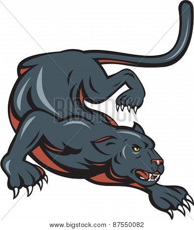 Black Panther Crouching Cartoon