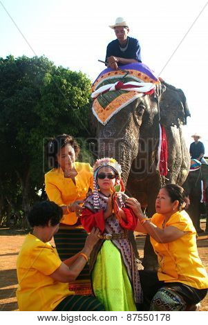 Dress Of Novice In Si Satchanalai Elephant Back Ordination Procession.