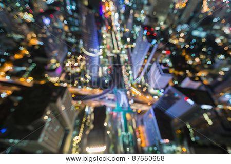 Bangkok skyline cityscape at night , Blurred Photo bokeh
