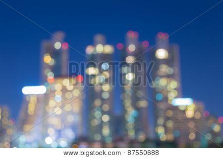 Blurred abstract background lights, beautiful Bangkok CBD