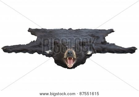 Low Angle View Of A Bearskin Rug Isolated On White