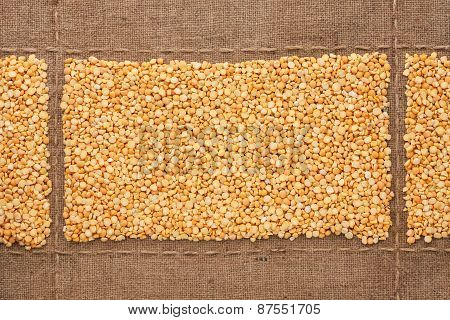 Peas Grains On Sackcloth, With Place For Your Text