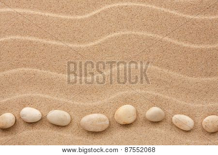 White Stones Lie On The Sand