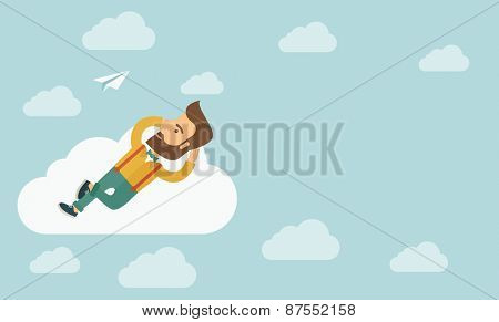 A hipster Caucasian man is relaxing while lying on a cloud.
