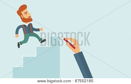 A hand with red pen drawn a hipster Caucasian business man climbing stairs,