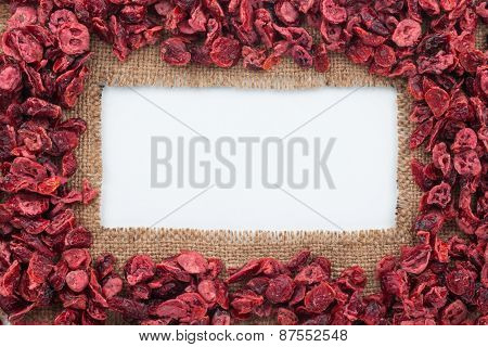 Frame Made Of Burlap With Dried Cranberry