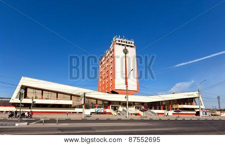 Modern Buildings Of Railway Station In The City Lipetsk. Russia