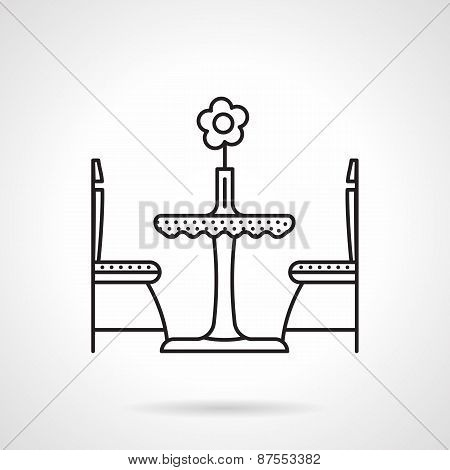 Table for two black line vector icon