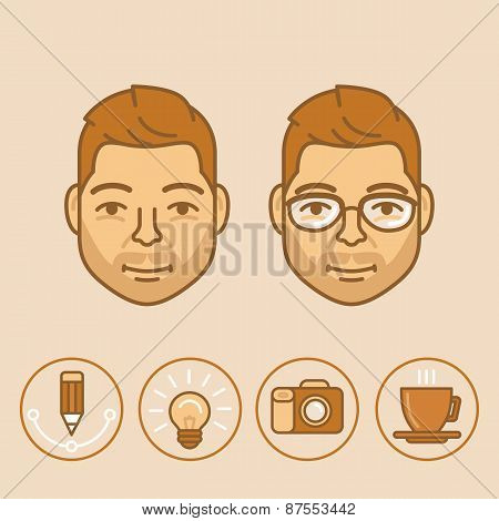 Vector Graphic Designer Portrait And Avatar In Trendy Linear Style