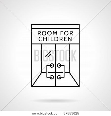 Cafe playroom black line vector icon