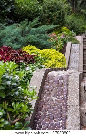 Beautiful subtropic garden and stone stairs