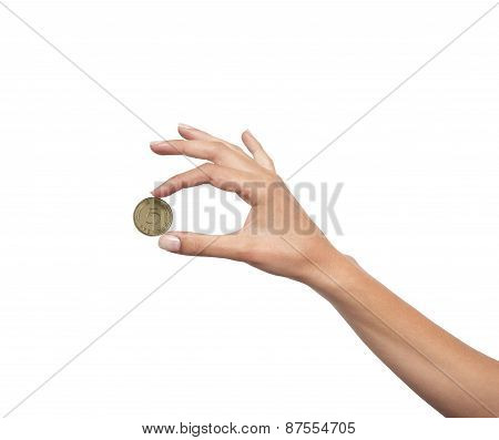 Woman Hand With Coin Isolated On White