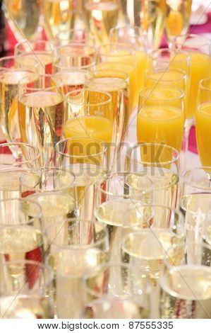 Champagne Glasses And Juice Glasses