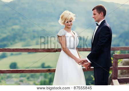 Wedding Couple Posing Against The Backdrop Of The Mountain. Bride Waving Hair