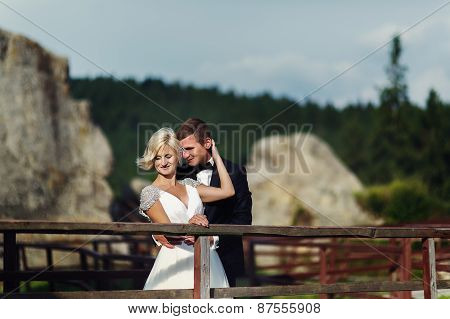 Wedding Couple In A Beautiful Dress Posing Against The Backdrop Of Gorgeous Mountain